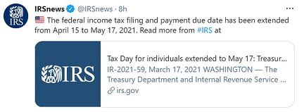 Federal Tax Deadline Extended to May 17 2021