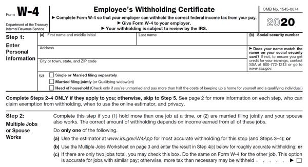 Form W-4 2020