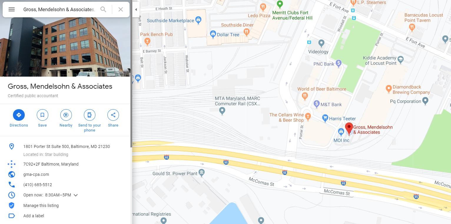 Gross Mendelsohn on Google Maps