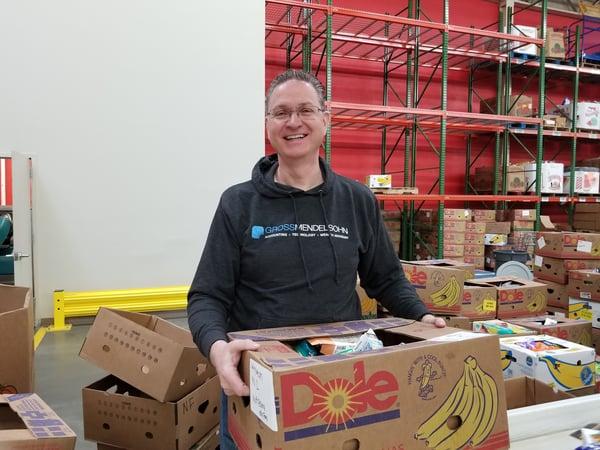Jim Crisp volunteering at Maryland Food Bank
