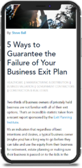 5 Ways to Guarantee the Failure of Your Business Exit Plan