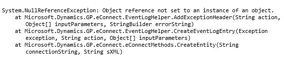 eConnect Error